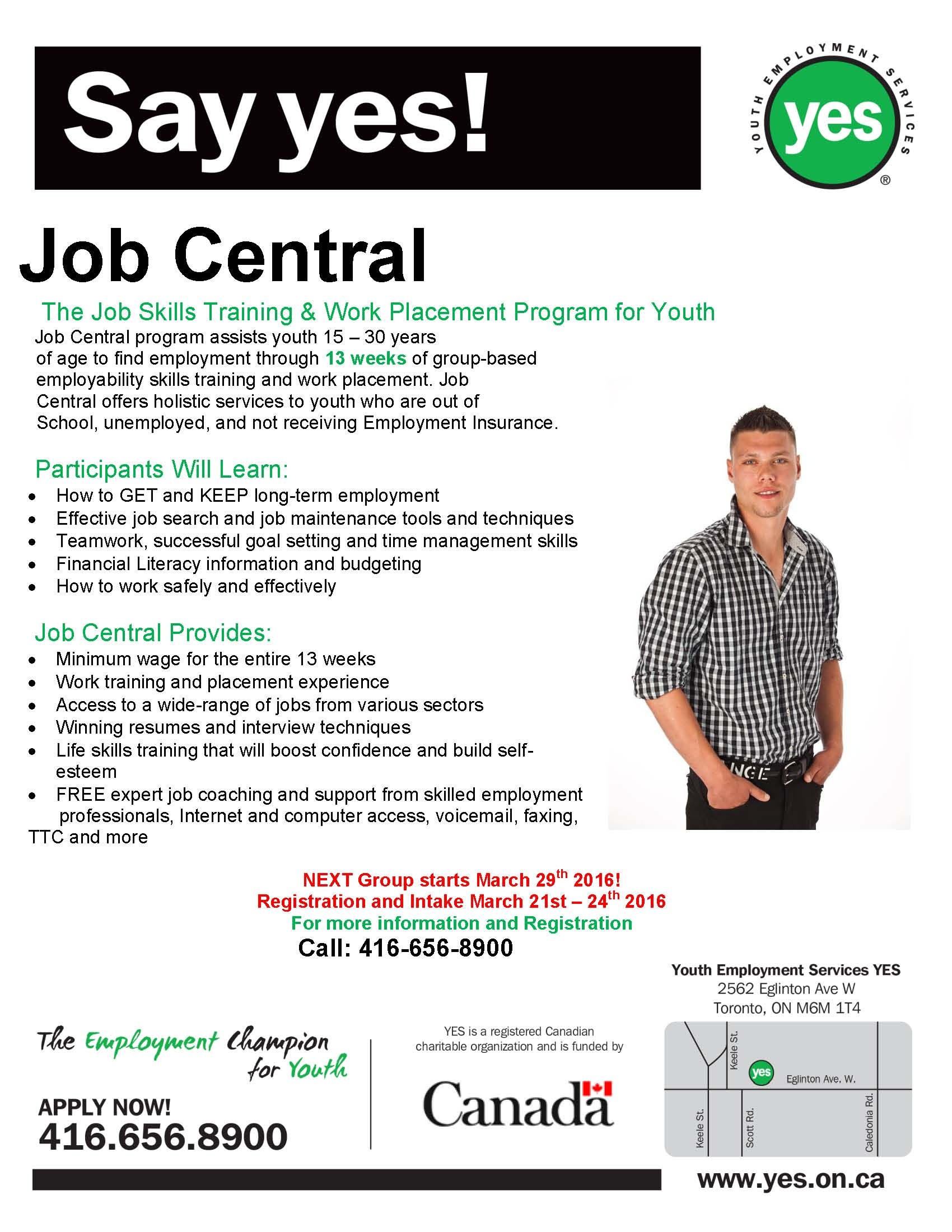 news events youth employment services yes page  our next job central group starts 29th call 416 656 8900 to register