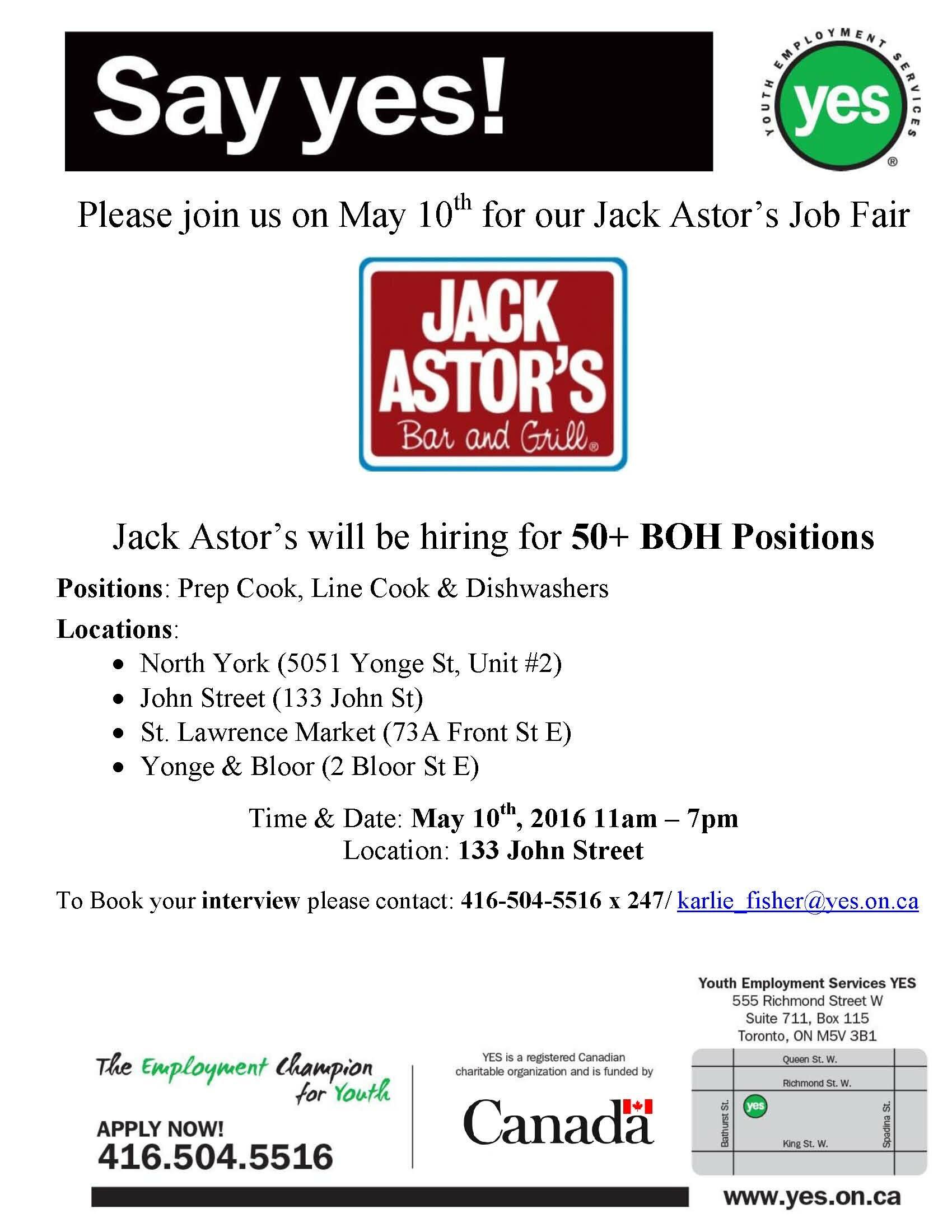 Jack Astors May 10th