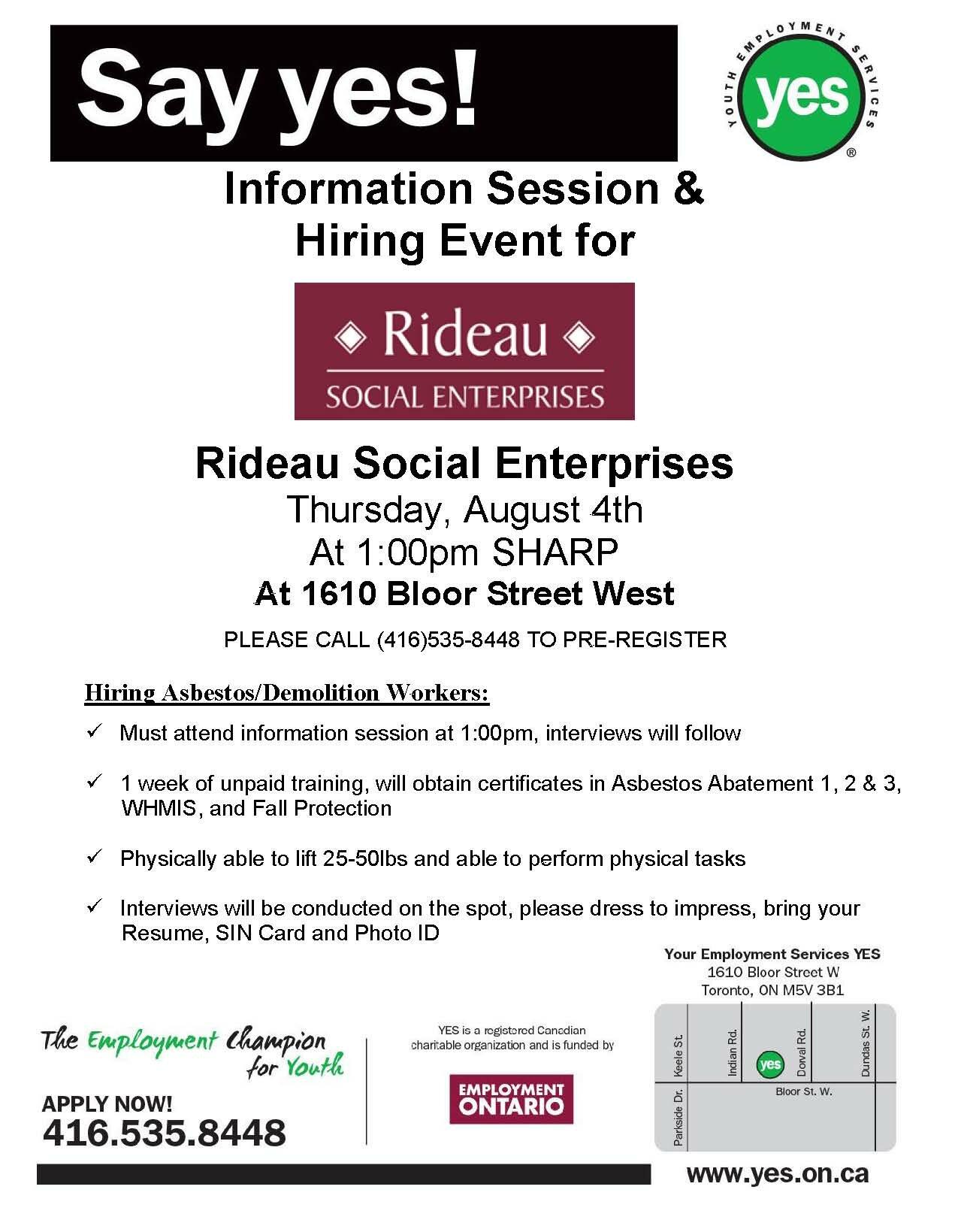 Rideau Social Enterprises August 4th 2016