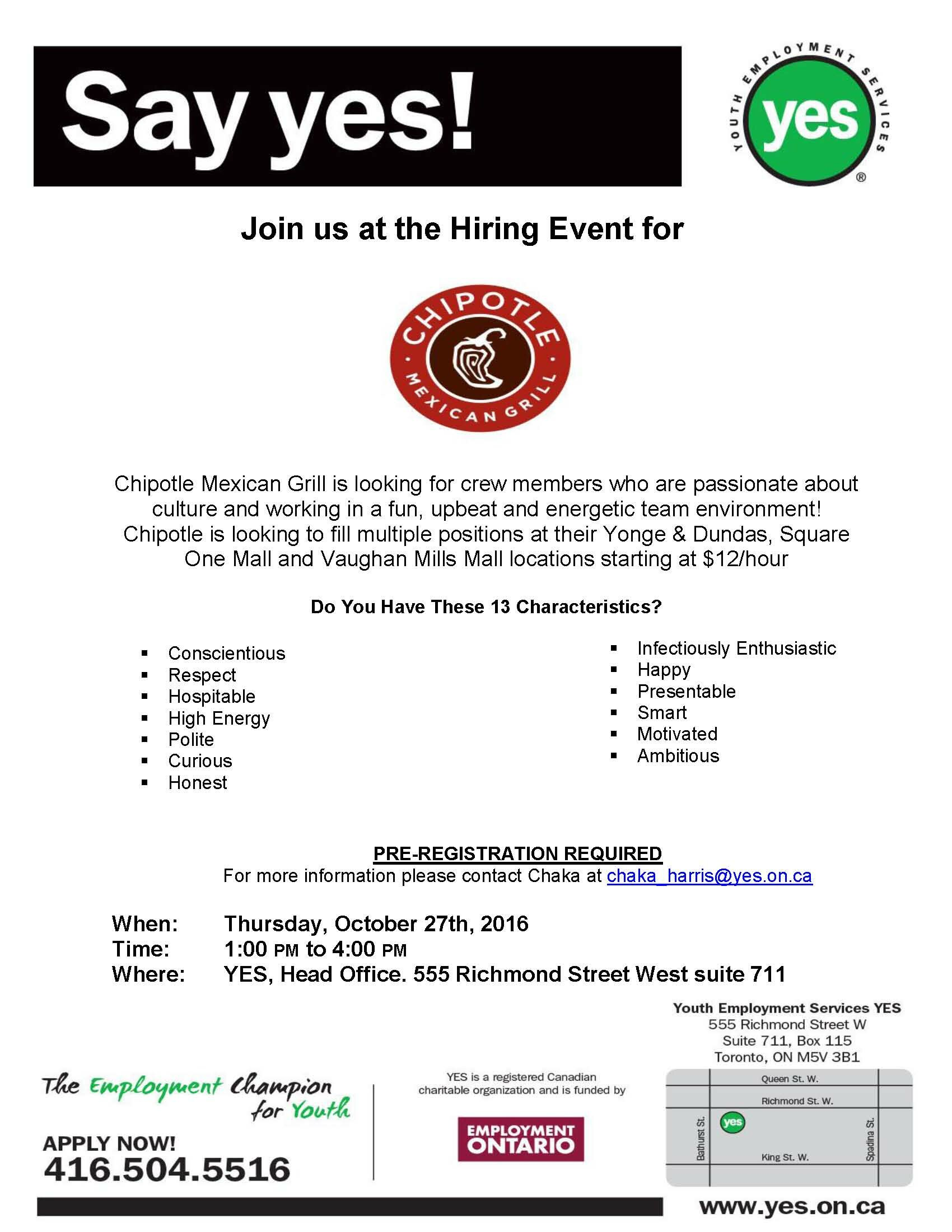 Chipotle Hiring Event Poster