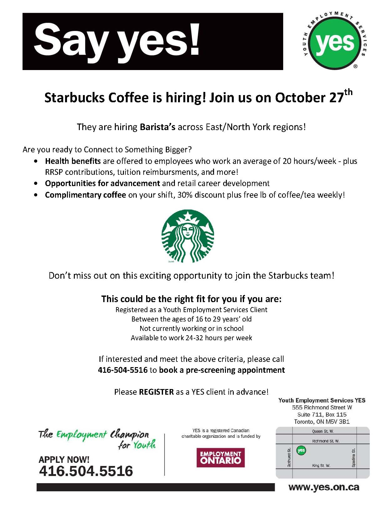 Starbucks Coffee is Hiring on October 27th | Youth Employment