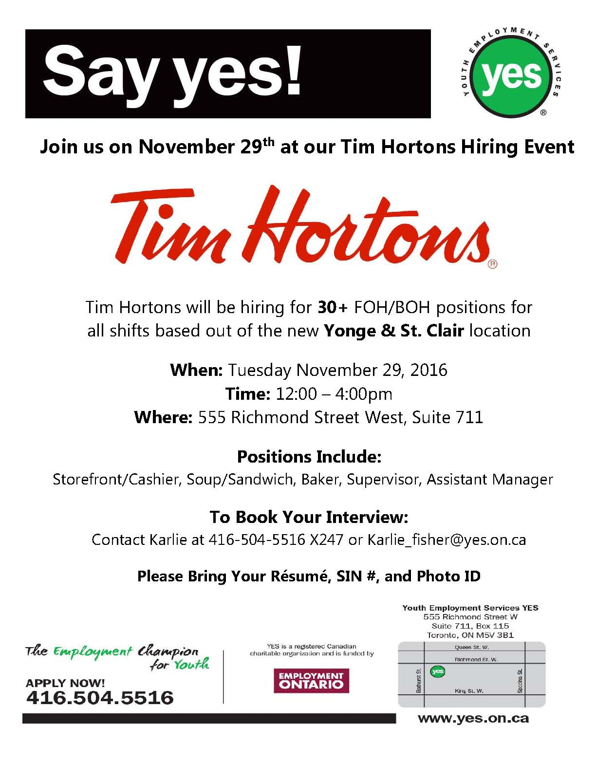 Tim Horton\'s Hiring Event! | Youth Employment Services YES